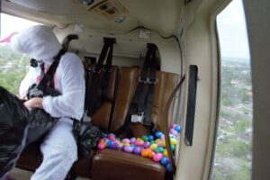 Man In A Bunny Costume Inside Helicopter