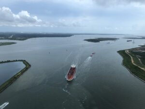 Aerial View Of Ship In Water